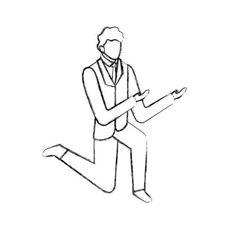 Illustration pour data network businessman male on knees sign vector illustration  hand drawing - image libre de droit