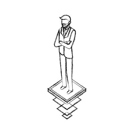 Illustration pour data network businessman male bearded vector illustration  hand drawing - image libre de droit
