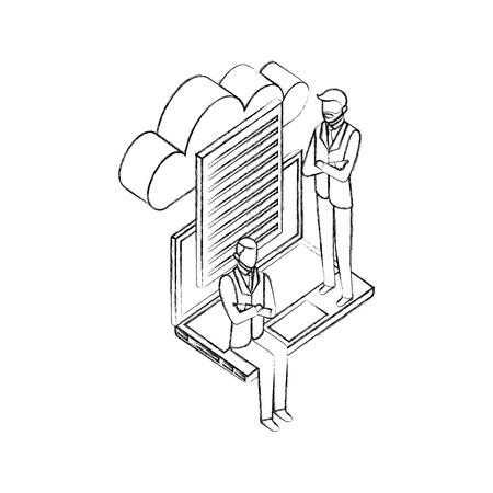 Illustration pour data network businessman paper computer cloud safety vector illustration  hand drawing - image libre de droit