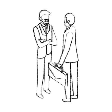Illustration pour businessmen with briefcase talking business conversation vector illustration hand drawing - image libre de droit