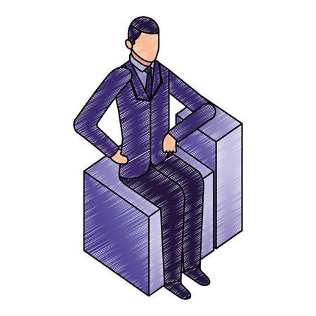 Illustration pour data network businessman sitting hands on the hip vector illustration - image libre de droit