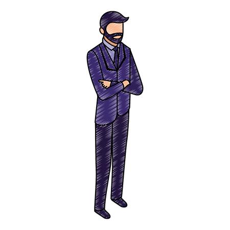 Illustration pour data network businessman male bearded vector illustration - image libre de droit