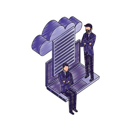 Illustration pour data network businessman paper computer cloud safety vector illustration - image libre de droit