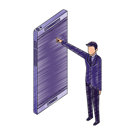 Illustration pour data network businessman male pointed smartphone screen vector illustration - image libre de droit