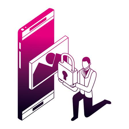 businessman smartphone security file image vector illustration neon design