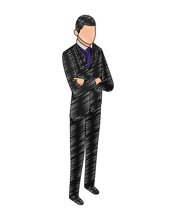 Illustration pour data network businessman male bearded vector illustration hand drawing vector illustration - image libre de droit