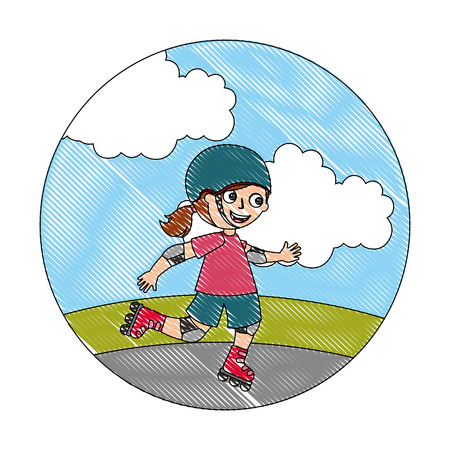 Ilustración de cute happy girl in the roller skates vector illustration - Imagen libre de derechos