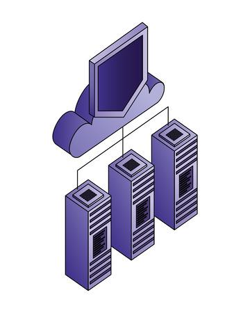 Illustration pour database server cloud computing storage protection connection vector illustration - image libre de droit