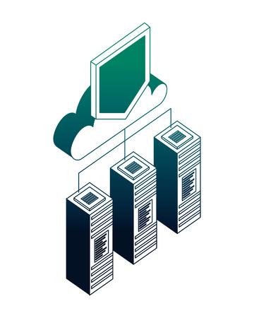 Illustration pour database server cloud computing storage protection connection vector illustration neon - image libre de droit
