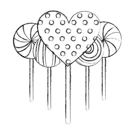 Illustration pour sweet candy lollipops heart spiral round confetionery vector illustration hand drawing - image libre de droit