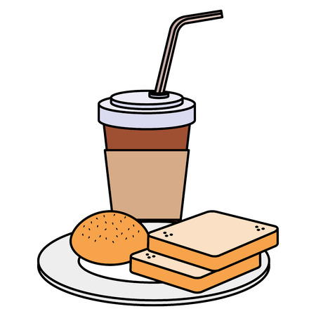 Illustration for coffee drink with bread vector illustration design - Royalty Free Image