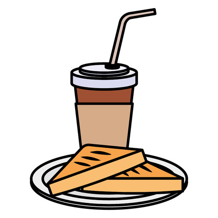 Illustration for coffee drink with bread toast vector illustration design - Royalty Free Image