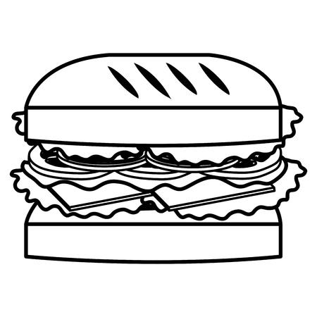 Illustration pour delicious burger fast food vector illustration design - image libre de droit