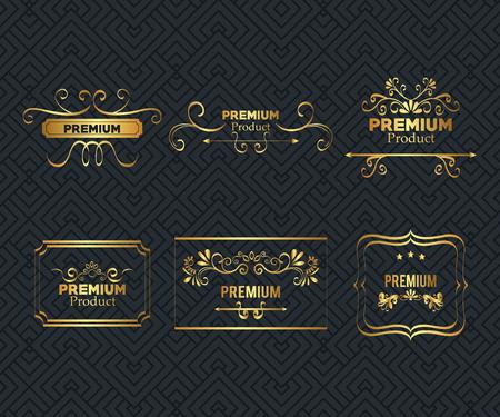 Illustration for set premium quality golden frame vector illustration design - Royalty Free Image