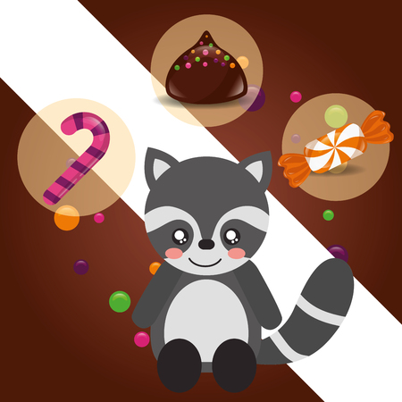 Illustration for sweet candy raccoon sticker caramel macaron chips vector illustration - Royalty Free Image