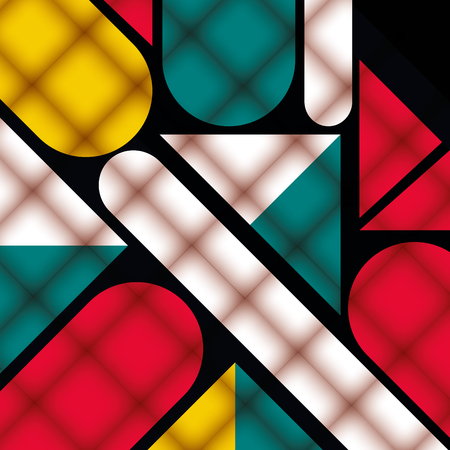 Illustration for geometric figures and colors pattern background vector illustration - Royalty Free Image