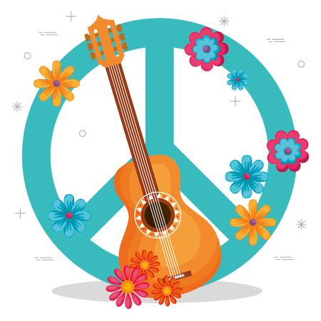 Illustration pour guitar with flowers hippie culture vector illustration design - image libre de droit