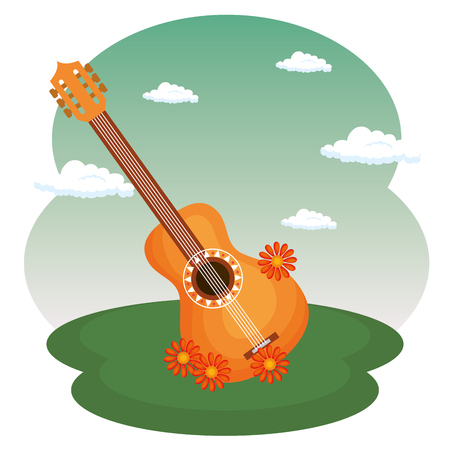 Illustration pour guitar with flowers hippie culture vector illustration design - image libre de droit