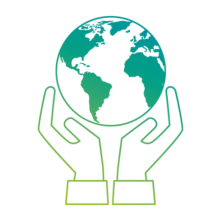 Illustration for world planet earth with hands protection vector illustration design - Royalty Free Image