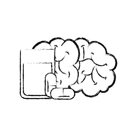Illustration pour human brain mental water glass capsule medication vector illustration hand drawing - image libre de droit