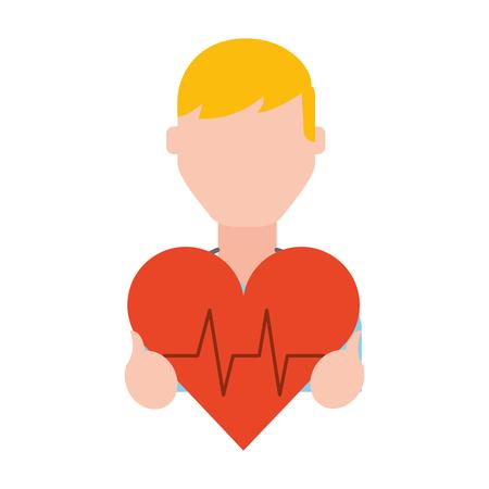 Ilustración de man holding heart rate medical symbol vector illustration - Imagen libre de derechos