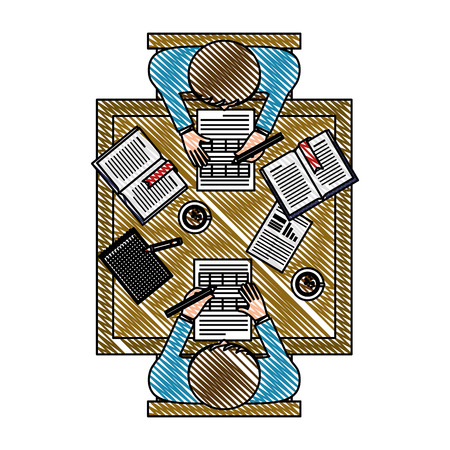 Illustration pour business teamwork in the office aerial view vector illustration design - image libre de droit