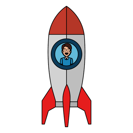 Ilustración de young man in rocket startup vector illustration design - Imagen libre de derechos