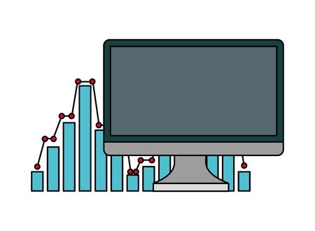 Illustration pour computer monitor with statistics graphical vector illustration design - image libre de droit