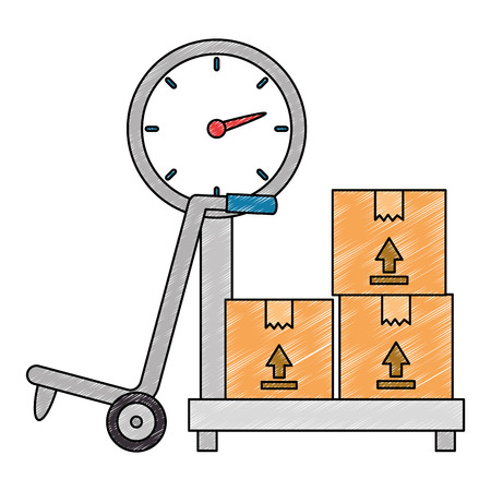 Illustration pour scale measure weight with boxes delivery service vector illustration - image libre de droit