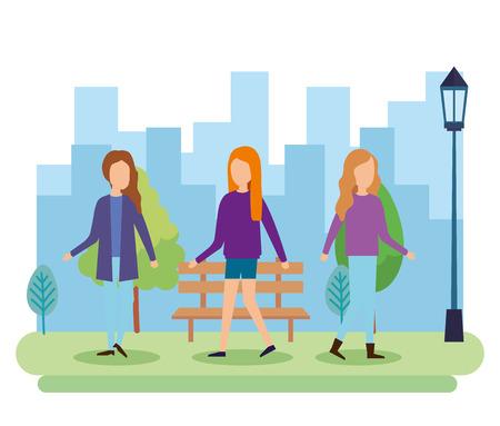 Illustration pour group of people on the park vector illustration design - image libre de droit
