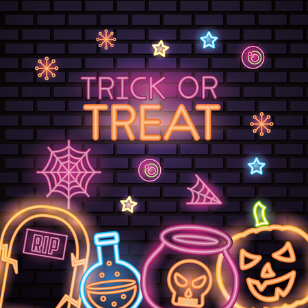 Ilustración de happy halloween celebration trick or treat neon spiderweb candys potion boiler and pumpkin vector illustration - Imagen libre de derechos