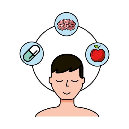 Ilustración de patient man brain apple and medication vector illustration - Imagen libre de derechos