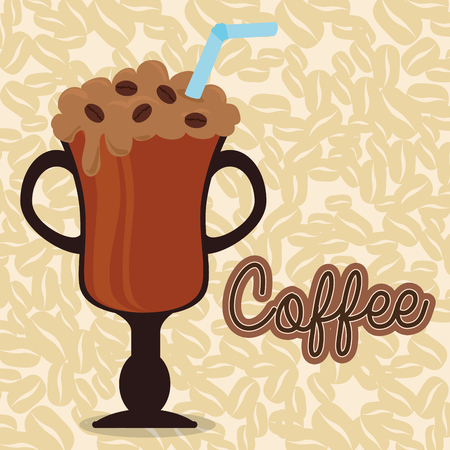 Illustration for delicious iced coffee in cup vector illustration design - Royalty Free Image