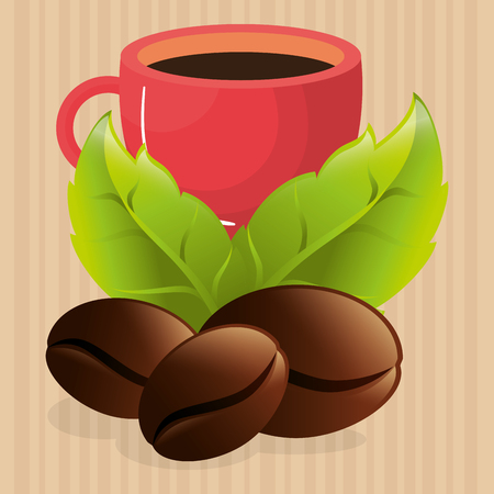 Illustration for delicious coffee cup with grains vector illustration design - Royalty Free Image