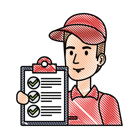 Illustration for delivery worker with checklist character vector illustration design - Royalty Free Image