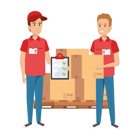 Illustration pour delivery workers with pile boxes and checklist vector illustration design - image libre de droit