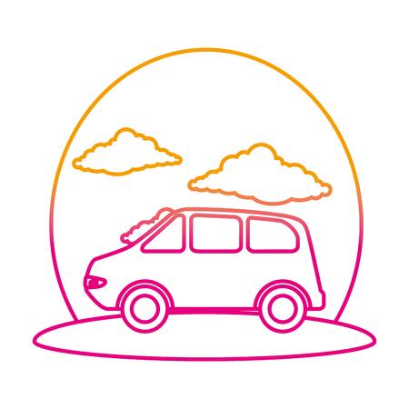 Illustration pour car vehicle on the road vector illustration design - image libre de droit
