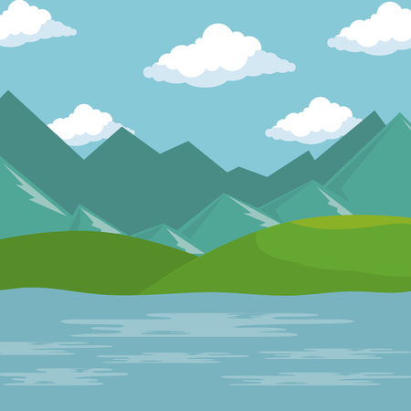 Illustration for landscape with lake scene vector illustration design - Royalty Free Image