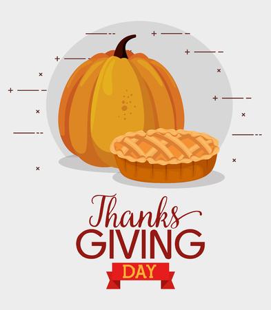 Illustration pour happy thanks giving card with pumpkin vector illustration design - image libre de droit