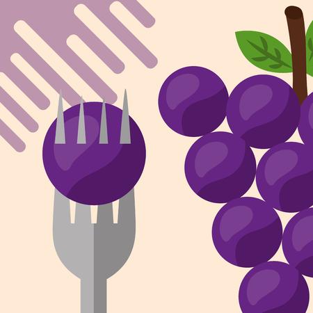 Illustration pour fruit fresh natural for holding grapes vector illustration - image libre de droit