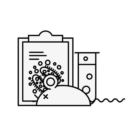 Illustration pour laboratory rat clipboard analysis experiment test tube vector illustration thin line - image libre de droit