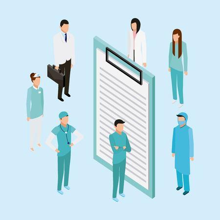 Illustration pour medical health form doctors nurse standing vector illustration - image libre de droit