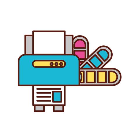 Ilustración de graphic design printer machine and color tone vector illustration - Imagen libre de derechos