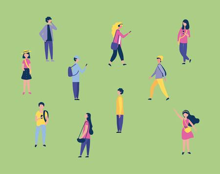 Ilustración de outdoor activities boys and girls using telephones walking greeting vector illustration - Imagen libre de derechos