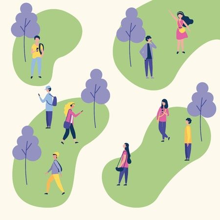 Illustration for outdoor activities trees park people social walking using telephone vector illustration - Royalty Free Image