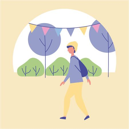 Illustration pour outdoor activities boy walking in the park trees and pennants vector illustration - image libre de droit