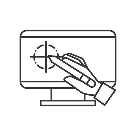 Illustration pour hand holding digital pen computer graphic design vector illustration thin line - image libre de droit