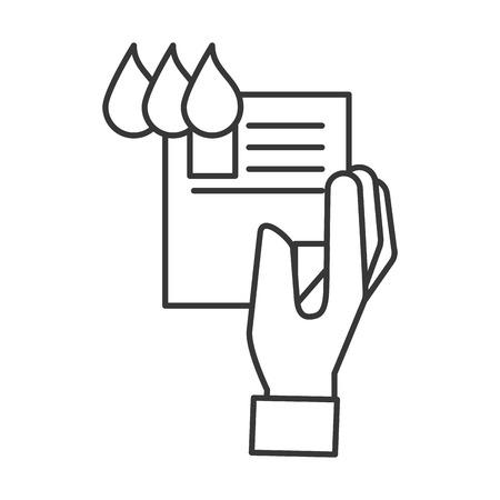 Ilustración de hand holding paper color tone design vector illustration thin line - Imagen libre de derechos