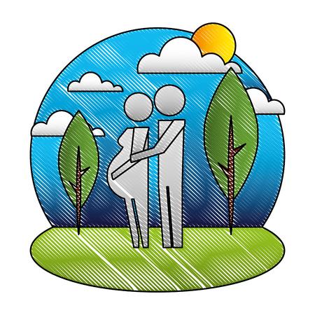 Ilustración de pregnancy couple parents in the park pictogram vector illustration - Imagen libre de derechos
