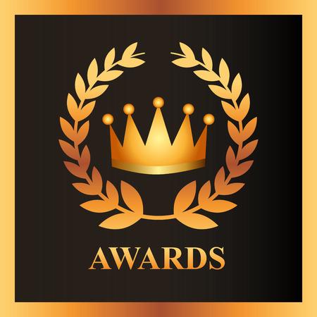 Illustration for movie awards crown prize sign vector illustration - Royalty Free Image